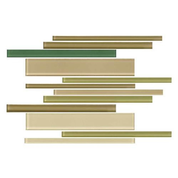 Daltile Color Wave Glass - CW25 Rain Forest Blend - Random Linear Dal Tile Glass Tile - Glossy - Sample