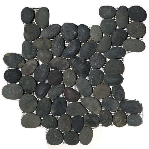 River Rock Pebble Stone Mosaic - Swarthy Black Interlocking Pebble Mosaic