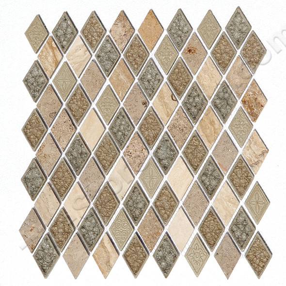 Supplier: Tile Store Online, Series: Coastline, Name: Sand Dollar Diamond, Type: Crackle Jewel Glass Stone Resin Mosaic Tile, Size: Diamond Rhomboid
