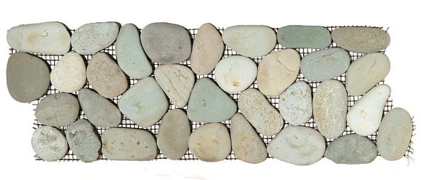 Supplier: Tile Store Online, Type: Pebble Stone Border Liner, Series: Interlocking Pebble Stone Liner Border, Name: Island Rock Collection, Color: Taipei Green, Category: Natural Stone, Size: Round