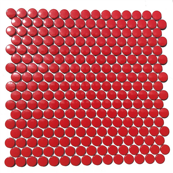 Red 1 inch Penny Round Glazed Porcelain Mosaic Tile - Gloss Finish - Sample