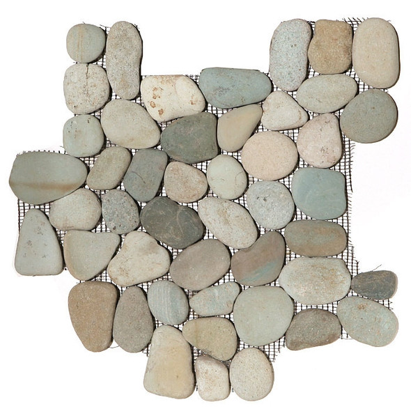 River Rock Pebble Stone Mosaic - Taipei Green Interlocking Pebble Mosaic