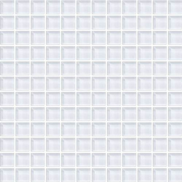 Daltile Color Wave Glass - CW01 Ice White - 1 X 1 Dal Tile Glass Mosaic Tile - Glossy - Sample