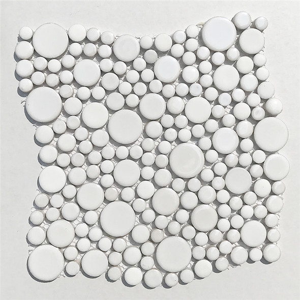White Mixed Bubble Circle Round Glazed Porcelain Mosaic Tile - Gloss & Matte Blend Finish