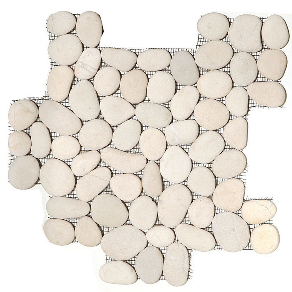 River Rock Pebble Stone Mosaic - Timor White Interlocking Pebble Mosaic * SAMPLE *