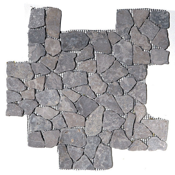 Flat Pebble Stone Mosaic - Aberdeen Gray Flat Cut Interlocking Stone Mosaic - Tumbled