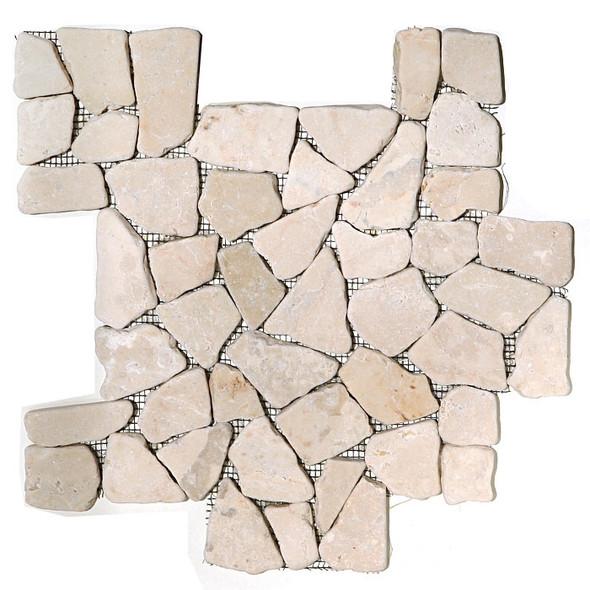 Flat Stone Mosaic - Kuta White Interlocking Stone Mosaic - Tumbled * SAMPLE *