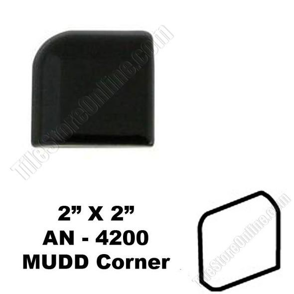Supplier: Daltile, Type: Glazed Ceramic Tile Accessory Trim Tile, Series: Semi Gloss MUDD Bullnose Corner, Name: K111 AN-4200, Color: Gloss Black, Category: Ceramic Tile, Price: $.99, Size: 2X2