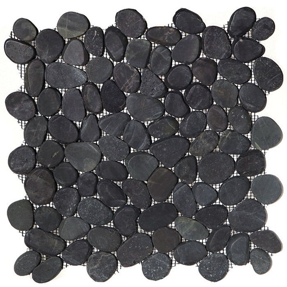 Sliced Flat Cut Pebble Stone Mosaic - Swarthy Black Interlocking Cut Stone Pebble Mosaic
