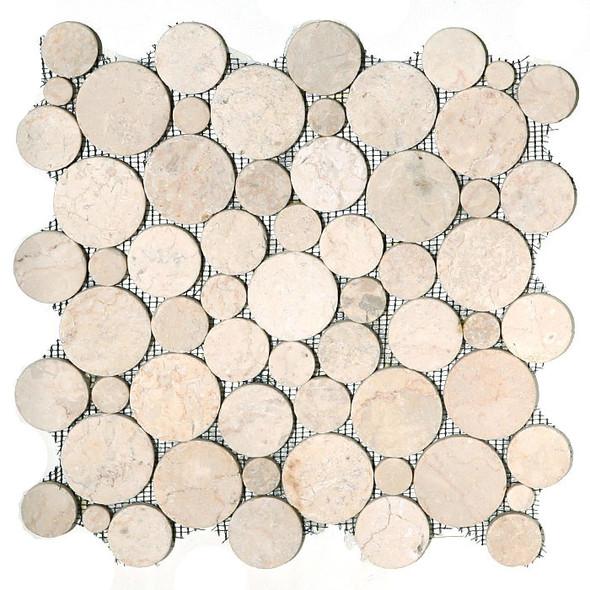 Circle Round Cut Pebble Stone - Bubble Cream Tan Interlocking - Sliced Flat Round Cut Stone Mosaic - Sample