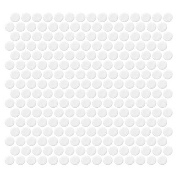 Supplier: Daltile, Series: Fanfare - Retro Rounds, Name: RR01 Bold White Penny Round - Gloss, Size: 1""
