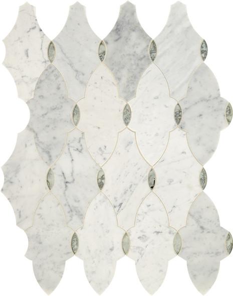 Daltile Lavaliere - LV16 Romantique - Waterjet White Carrara Marble & Antique Mirror Glass Arabesque Mosaic