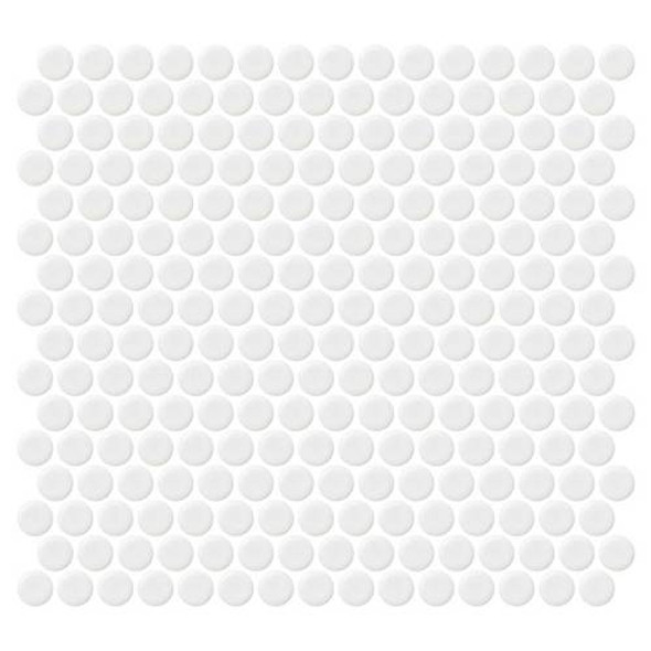 Supplier: Daltile, Series: Fanfare - Retro Rounds, Name: RR01 Bold White Penny Round - Matte, Size: 1""
