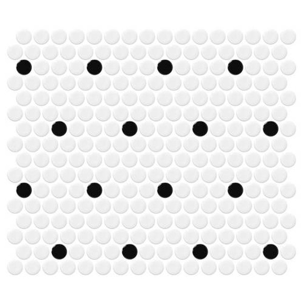 Supplier: Daltile, Series: Fanfare - Retro Rounds, Name: RR03 Polka Dot Penny Round - Gloss, Size: 1""