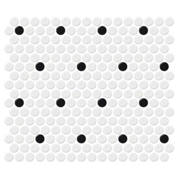 Supplier: Daltile, Series: Fanfare - Retro Rounds, Name: RR04 Polka Dot Penny Round - Matte, Size: 1""