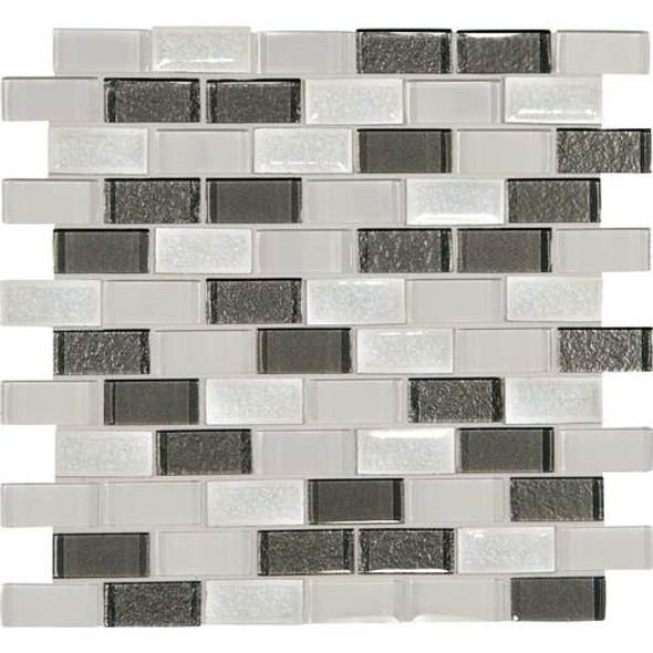 Supplier: Daltile, Series: Crystal Shores, Name: CS93 Diamond Delta Blend, Category: Jewel Crackle Glass Tile Mosaic, Size: 1X2 Brick