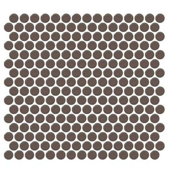 Supplier: Daltile, Series: Fanfare - Retro Rounds, Name: RR06 Saddle Brown Penny Round - Gloss, Size: 1""