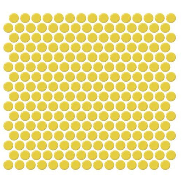 Supplier: Daltile, Series: Fanfare - Retro Rounds, Name: RR07 Daffodil Yellow Penny Round - Gloss, Size: 1""