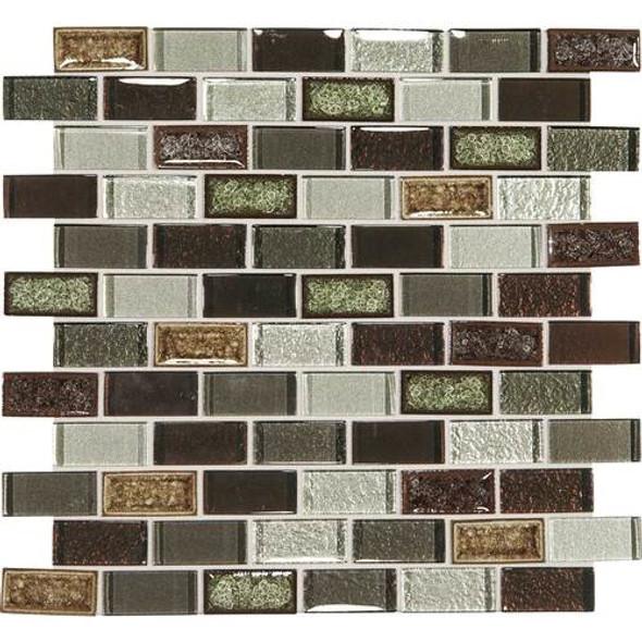 Supplier: Daltile, Series: Crystal Shores, Name: CS94 Hazel Harbor Blend, Category: Jewel Crackle Glass Tile Mosaic, Size: 1X2 Brick