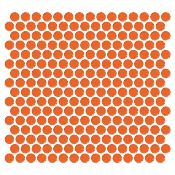 Supplier: Daltile, Series: Fanfare - Retro Rounds, Name: RR08 Orange Soda Penny Round - Gloss, Size: 1""
