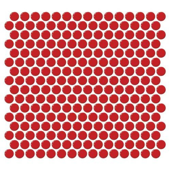Supplier: Daltile, Series: Fanfare - Retro Rounds, Name: RR09 Cherry Red Penny Round - Gloss, Size: 1""
