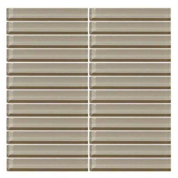Daltile Color Wave Glass - CW07 Casual Tan - 1 X 6 Straight Joint Dal Tile Glass Mosaic Tile - Glossy - Sample