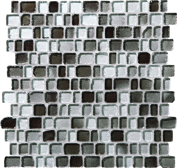 Supplier: Daltile Fanfare, Series: Jewel Tide, Name: JT03 Silver Shore - Tumbled Sea Glass Glossy, Category: Glass Tile Mosaic , Size: 3/4 X Random
