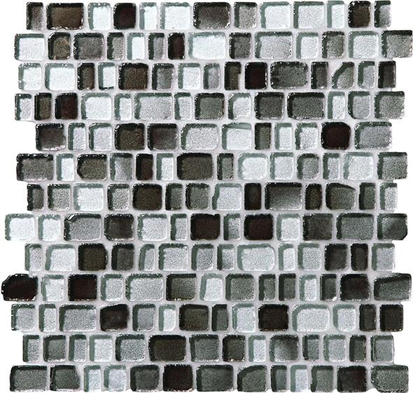 Supplier: Daltile Fanfare, Series: Jewel Tide, Name: JT03 Silver Shore - Tumbled Sea Glass Glossy, Category: Glass Tile Mosaic , Size: 3/4 X Random