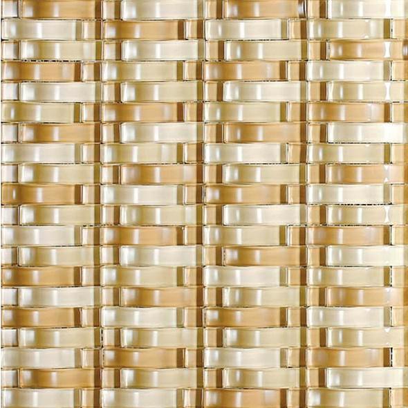 Bristol Studios - Mosaics De Verre - G2327 Or Bows - Arched Glass Basketweave Mosaic- $7.99