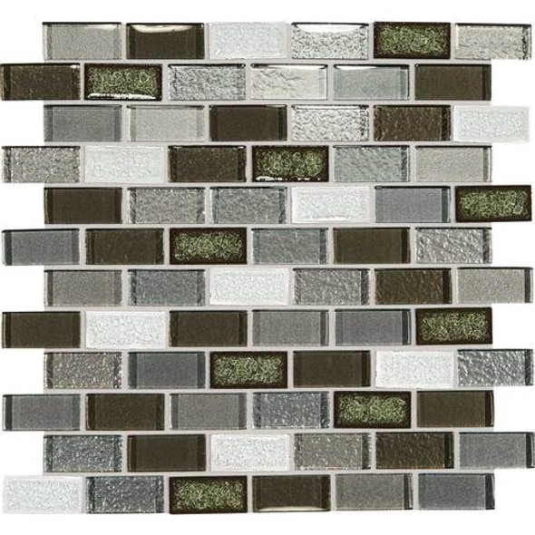 Supplier: Daltile, Series: Crystal Shores, Name: CS96 Emerald Isle Blend, Category: Jewel Crackle Glass Tile Mosaic, Size: 1X2 Brick