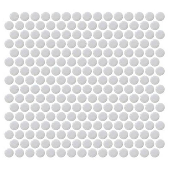 Supplier: Daltile, Series: Fanfare - Retro Rounds, Name: RR12 Smoky Gray Penny Round - Gloss, Size: 1""