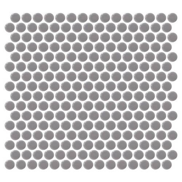 Supplier: Daltile, Series: Fanfare - Retro Rounds, Name: RR13 Engine Gray Penny Round - Gloss, Size: 1""