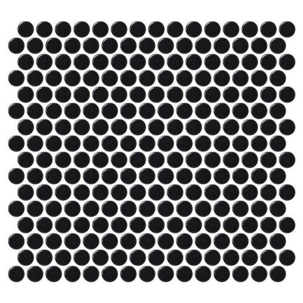 Supplier: Daltile, Series: Fanfare - Retro Rounds, Name: RR15 Canvas Black Penny Round - Matte, Size: 1""