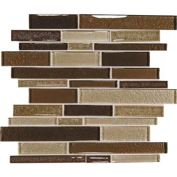 Supplier: Daltile, Series: Crystal Shores, Name: CS97 Copper Coast Blend, Category: Jewel Crackle Glass Tile Mosaic, Size: Random Interlock