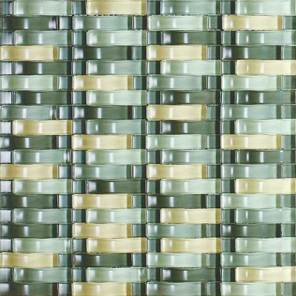 Bristol Studios - Mosaics De Verre - G2335 Vert Bows - Arched Glass Basketweave Mosaic - $7.99
