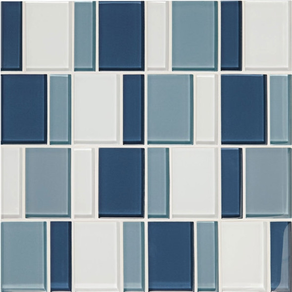 "Supplier: American Olean, Series: Color Appeal Renewal Glass Tile Mosaic, Name: C130 Blue Moon Blend - Glossy, Size: 3"" Block"