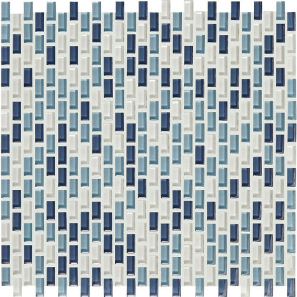 Supplier: American Olean, Series: Color Appeal Renewal Chain Link Glass Tile Mosaic, Name: C130 Blue Moon Blend, Size: Micro Brick