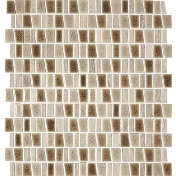 "Marazzi Midpark Mosaics - MP08 Sandbox - 1"" X Random Trapezoid Interlocking Crackle Glazed Porcelain & Stone Mosaic Tile"