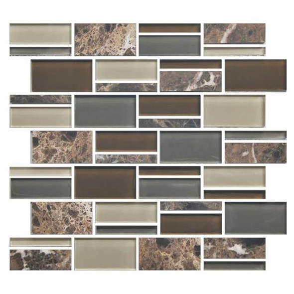 "Supplier: American Olean, Series: Color Appeal Glass, Name: C139 Tortoise Shell Blend - Glossy, Type: Glass Tile Mosaic, Size: 3"" X Random"
