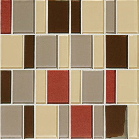 "Supplier: American Olean, Series: Color Appeal Renewal Glass Tile Mosaic, Name: C131 Earth Fire Blend - Glossy, Size: 3"" Block"