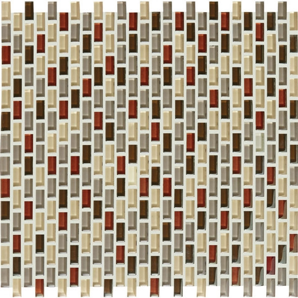 Supplier: American Olean, Series: Color Appeal Renewal Chain Link Glass Tile Mosaic, Name: C131 Earth Fire Blend, Size: Micro Brick