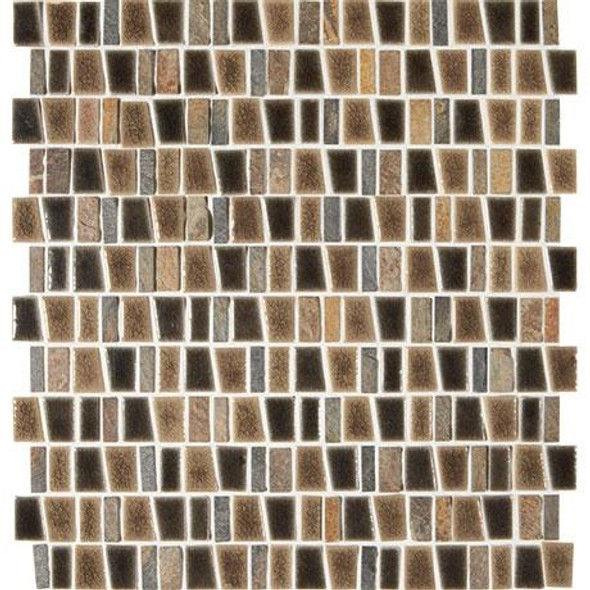 "Marazzi Midpark Mosaics MP09 Bark Crackle Glazed Porcelain & Natural Stone 1"" X Random Trapezoid"