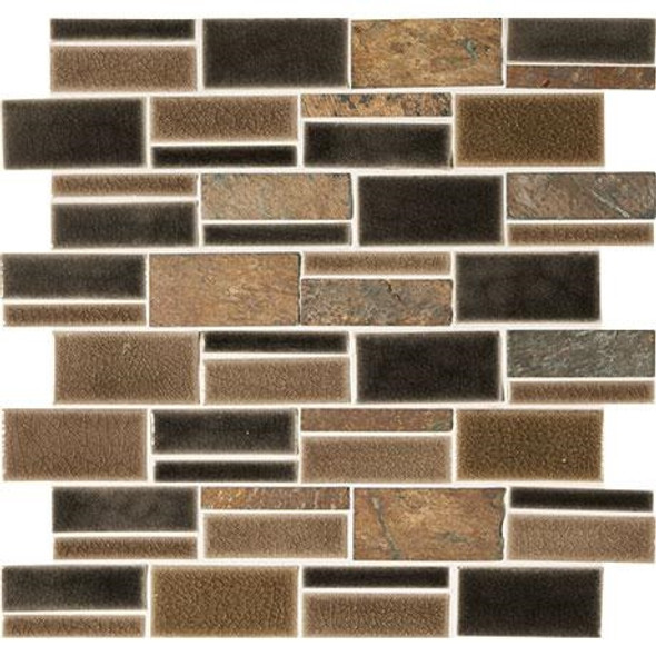 "Marazzi Midpark Mosaics MP09 Bark Crackle Glazed Porcelain & Natural Stone 3"" X Random Rectangle"