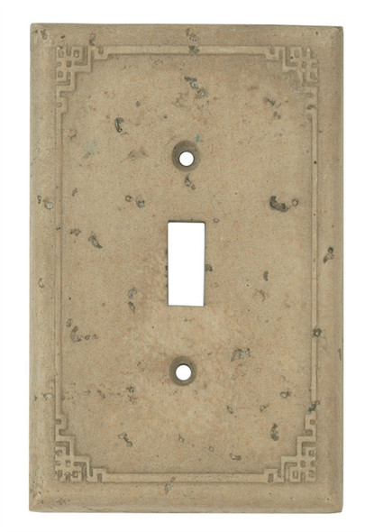 Resin Travertine Faux Stone Wall Switch Plate Outlet Cover - Single Toggle Switch - Geometric - Dark Travertine Color - $4.99