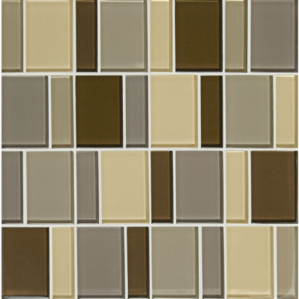 "Supplier: American Olean, Series: Color Appeal Renewal Glass Tile Mosaic, Name: C132 Pecan Grove Blend - Glossy, Size: 3"" Block"