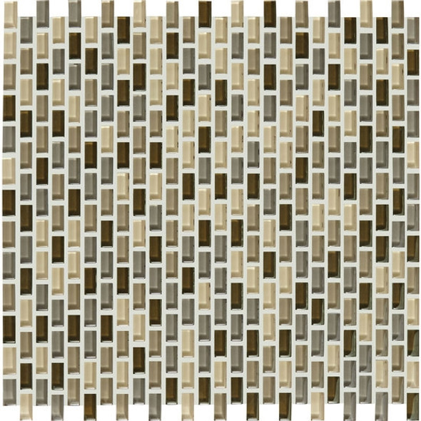 Supplier: American Olean, Series: Color Appeal Renewal Chain Link Glass Tile Mosaic, Name: C132 Pecan Grove Blend, Size: Micro Brick