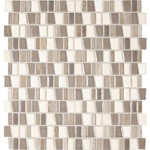 "Marazzi Midpark Mosaics MP11 Rainstorm Glazed Porcelain & Natural Stone 1"" X Random Trapezoid"