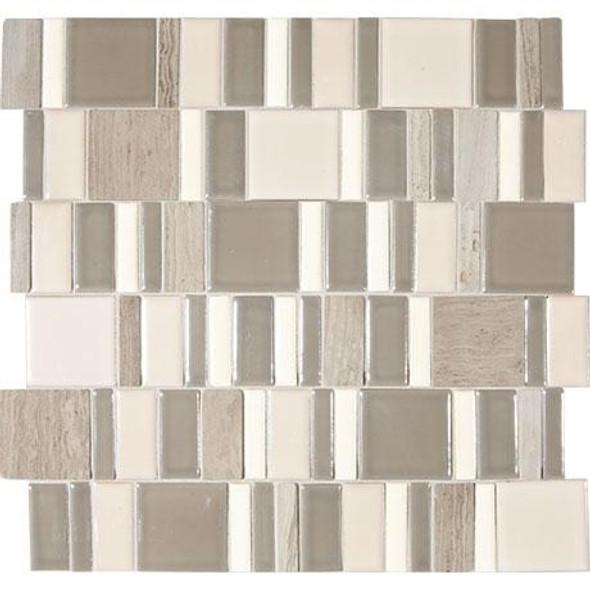 """Marazzi Midpark Mosaics MP11 Rainstorm Glazed Porcelain & Natural Stone 2"""" X Random Square"""