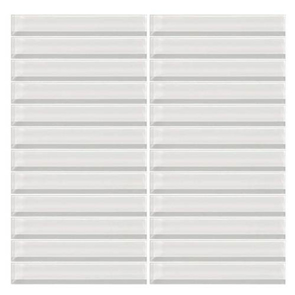 Daltile Color Wave Glass - CW01 Ice White - 1 X 6 Straight Joint Dal Tile Glass Mosaic Tile - Glossy - Sample