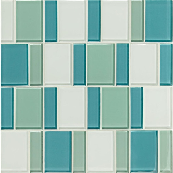 "Supplier: American Olean, Series: Color Appeal Renewal Glass Tile Mosaic, Name: C128 Sea Pearl Blend - Glossy, Size: 3"" Block"